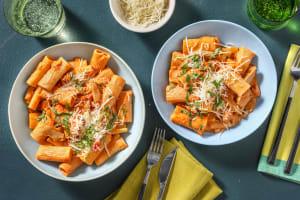 Romige rigatoni met vegetarische kipstukjes image