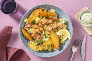 Salat mit veganen Strips Typ Hähnchen & Avocadocrème image
