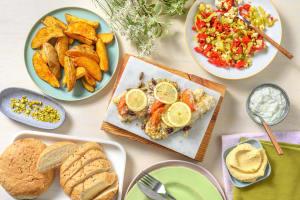 Zeebaars uit de oven in mediterrane saus image
