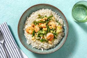 Groene curry met garnalen en rijst image