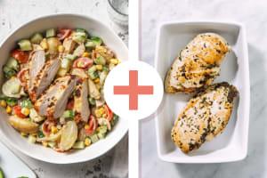 Salade de grenailles et poulet à la méditerranéenne en double portion image