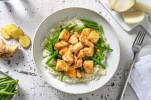 Poulet en sauce asiatique douce et haricots verts image
