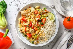 Curry vert de poisson relevé avec du riz image