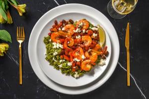 Crevettes marinées, chorizo, poivron et olives image