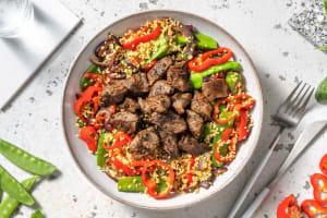 Salade de boulgour aux émincés de bœuf et pois mange-tout image