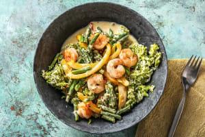 Curry express aux crevettes et riz de brocoli image
