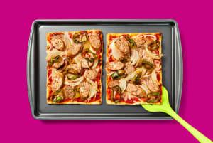 Sheet Pan Pork Sausage & Pepper Flatbreads image