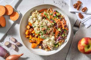 Patate douce rôtie et salade de thon image