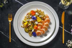 Grosses crevettes marinées au citron et à l'ail image