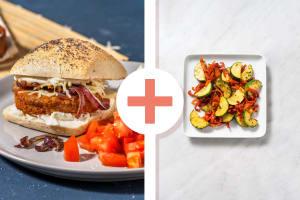 Wortel-pompoenburger met gebakken groenten als extra image