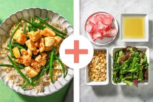 Poulet en sauce asiatique douce et salade en extra image