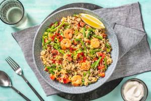 Paella! Spanischer Reis mit Chorizo und Garnelen image