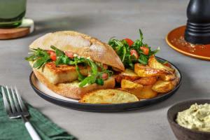 Paniertes Tofu-Sandwich mit Basilikum-Dip image