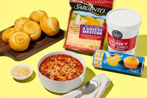 Cheesy Beef Chili & Cornbread Swirls image