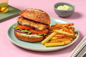 Zelfgemaakte visburger met ravigotesaus image