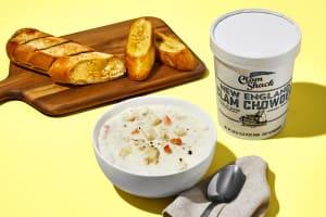 New England Clam Chowder + Garlic Bread image