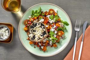 Gevulde portobello met witte kaas en warme salade image