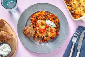 Chili sin carne met een krokant laagje kaas uit de oven image