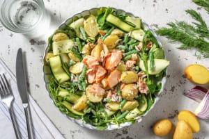 Salade de grenailles tiède aux miettes de saumon image