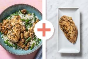 Double portion de poulet aux champignons à la crème image