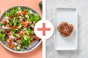 Salade de couscous perlé et steak haché en extra image