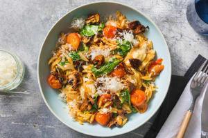 Orzotto mit Mozzarella und rauchigen Pilzen image