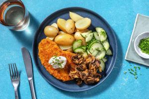 Vegetarische schnitzel met champignonroomsaus image