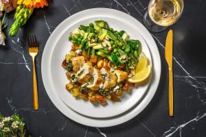 Gevulde kipfilet met geitenkaas en spinazie image