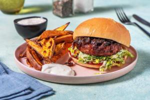 Vegan BBQ Burger mit karamellisierten Zwiebeln image