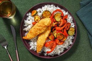 Poulet en croûte de sésame et légumes rôtis image