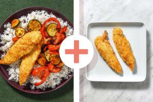 Double portion de poulet en croûte de sésame et légumes rôtis image