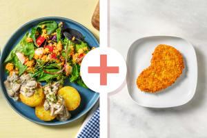 Knödeltaler mit Pilzrahm und veganem Schnitzel image