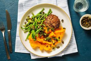 Steak haché et purée de patate douce relevée image