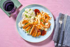 Sesam-gemberrijst met vegetarische schnitzelreepjes image