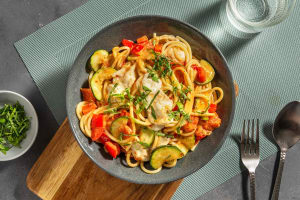 Mediterrane spaghetti met courgette en mozzarella image