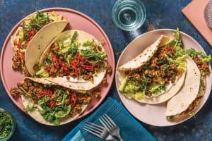 Sticky Soy Pork & Veggie Tacos image