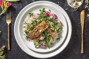 Asian Sesame-Crusted Salmon & Garlic Rice image