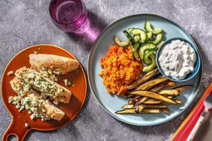 Assiette turque : boulgour pilaf & pide au fromage image