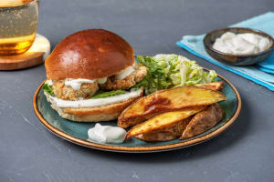 Fish & Chips Burger mit Knoblauch-Dip image