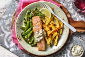 Baked Salmon and Chips image