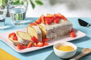 Lemon Drizzle Loaf & White Chocolate Ganache with Lemon Curd & Strawberries image