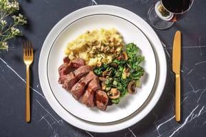 Balsamic-Glazed Venison Steak & Parsnip Mash image
