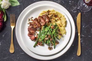 Balsamic Glazed Venison Steak & Parsnip Mash image