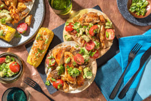 BBQ Chicken Flatbread and Street Corn image