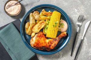 BBQ-Hähnchenkeule mit Maiskolben image