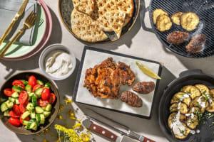 BBQ Lamb Shawarma Kebabs and Baharat Chicken image