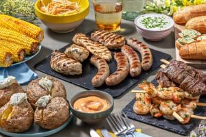 BBQ box met runderspies, garnalen, worst en kipfilet image