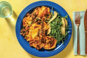 Beef Ragu Tortellini with Rocket-Pear Salad image