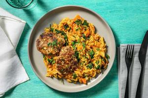 Bifteki mit Hirtenkäse auf Orzotto image