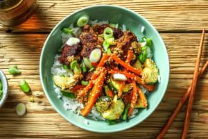 Bibimbap Rice Bowls and Spicy Sesame Sauce image